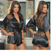 Wholesale Fashion Black Satin Black Sexy Lingerie Costume Pajamas underwear Sleepwear Robe and G String
