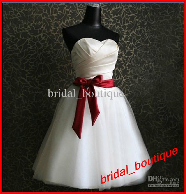 Red And White Short Bridesmaid Dresses 25