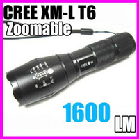 Wholesale DHL free Lumen Zoomable CREE XML XM L T6 Focus LED Flashlight Lamp Lantern Torch A100