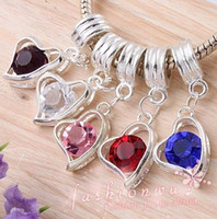 Wholesale MIC X Silver Plated Colors Crystal Heart Charm Beads