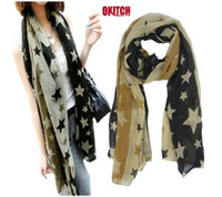 Wholesale women s fashion big star scarf chiffon printe popular long shawls scarves