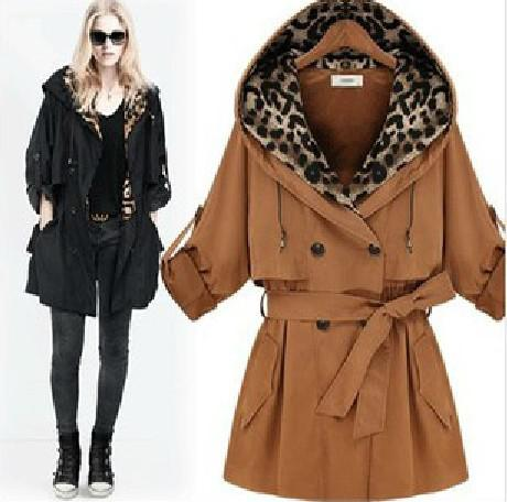 2017 2012 New Arrival Cotton Women Trench Coat Hooded Leopard