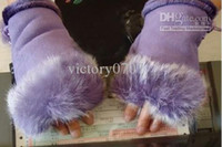 Wholesale 100Pairs FEDEX Rabbit fur gloves woman fingerless keyboard gloves winter office gloves real rabbit fur Warm and breathable