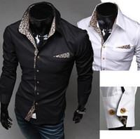 Wholesale Long Sleeved Shirts Men s Shirt Fashion Leopard Print Lining Cotton Blends Plain Black White