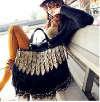 Wholesale Limited edition New Fashion Black women s Bag Leopard snake with tassel shoulder tote bag FREE SHIP