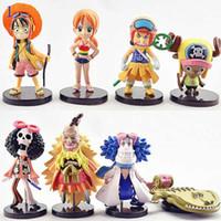 al por mayor una pieza de la muñeca-Anime Una pieza muñecas figura de acción de los juguetes de fondo azul muñeca modelo de dibujos animados bebé regalo de los niños