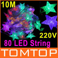 Wholesale RGB M LED Five pointed Star Christmas Decoration outdoor led String Lights EU plug V H9007