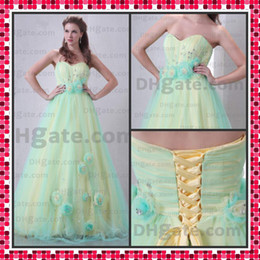 Wholesale HOT SALE Quinceanera Dress A line Sweetheart Handmade Flower Organza Evening Gowns Dresses