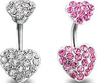 Wholesale Navel Belly Ring Body Jewelry Crystal Double Heart