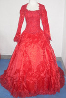Wholesale White red princess long sleeve court train appliques organza Wedding Dresses of brides JH013328