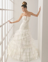 Wholesale 2014 New Elegant Strapless A line Pleat Flouncing Organza Ruffle Wedding Dress