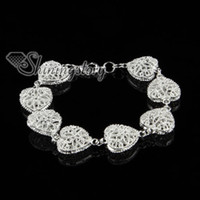 Wholesale 925 sterling silver filled brass openwork rose flower heart love bracelets with charms Sb80390 high fashion jewelry