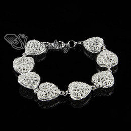 925 sterling silver filled brass openwork rose flower heart love bracelets with charms Sb80390 high fashion jewelry