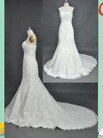 Wholesale 2012 Arrival A Line Strapless Floor Length Fold Applique Lace Wedding Dress Bridal Gown W41
