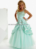 Floor-Length aqua tulle - 2015 Aqua Ball Gown Little Girl Pageant Dresses Princess Beaded Lace Appliques Satin Tulle Party Dress dhyz