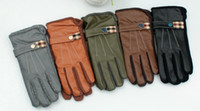 Wholesale Man metal buckles cortex wind gloves wool double winter warm gloves