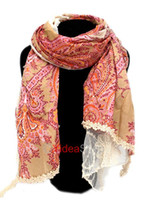 Wholesale 1pc Fashion Girls Bandelet Classic Print Vintage Style Red Crochet Lace Scarf Ideal Gifts
