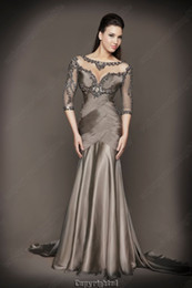 Wholesale 2013 New Mermaid Satin Beaded Prom Dresses with Ruffles and long sleeves D