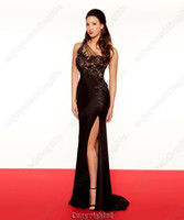 Wholesale 2013 New Black One Shoulder Chiffon Split Prom Dresses with Floral Applique and Beads R