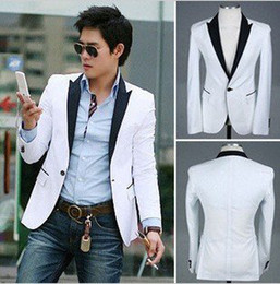 Wholesale Men s Blazer Suit CHIC One Button Black Collar Fil Slim Suit Jacket White Color Size US S M L Free S