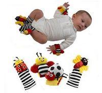 cloth bee rattle - Baby toys cartoon wrist rattle stripe socks Lady bug bee designs toys