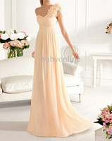 Wholesale 2012 Sexy Pearl Pink Chiffon Bridesmaid Dresses Floral Strap amp Empire Waist Prom Dresses PC03002