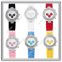 Wholesale S5Q Geneva Silicone Crystal Quartz Ladies Women Jelly Wrist Watch Versicolor