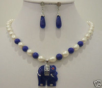 Earrings & Necklace Pearl Sterling Silver white pearl  blue jade Elephant pendant necklace earrings 18''