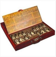 Unisex asian board games - A set of Asian old chess pieces board box game