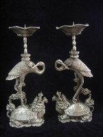 Wholesale chinese Tibet Silver candlestick carved turtle swa pair