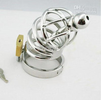 Male Chastity Cage  [CT002]Male Stainless steel chastity device Cock Cage with Ring & Padlock sex product for SM gam