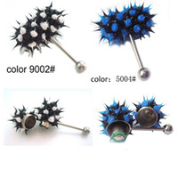 Stainless Steel bulk lots - BULK Vibrating Tongue Bar Tongue ring Body Jewelry Silicone Koosh Ball