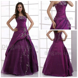 Wholesale Promotion Ball gown Embroidery Floor Length ruffle dark purple lace up Quinceanera Dress n339