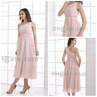 Model Pictures tea length bridesmaid dresses - A line Chiffon one shoulder ruffle skin pink tea length Bridesmaid Dresses n340