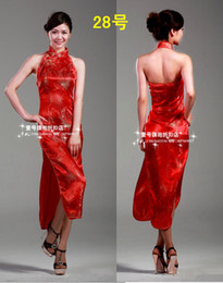 Wholesale Discount Chinese Cheongsam Women s Sexy Satin Cheongsam Long Prom Evening Dresses Cocktail Party Clothes