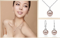 Wholesale Necklace earring Exquisite Colored Pearl Jewelry Sets For Bridal Silver Chain Three Colors T