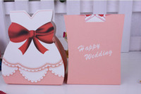 Cheap Wholesale 200pcs lot New TUXEDO DRESS Candy Box Groom Bridal Wedding Favours Boxes Gift