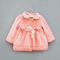 Halloween Girl 2-5Years Kid's Pink Green Fashion Coat 2012 New Arrival Best Sale Girl's Polka Dot YarnThickening Outwear