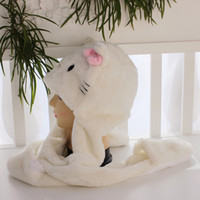 Wholesale 50pcs Pink bIG BOW Fashion Winter Cartoon Animal Hat Winter Hat Long Grey White Wolf glove scarf