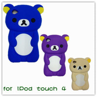 Wholesale 3D Cartoon Rilakkuma Lazy Bear Soft Silicone Cover Case for iPod touch