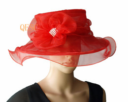 Red Organza Hat ladies hat with organza flower  pearl for wedding,party,kentucky derby,church.
