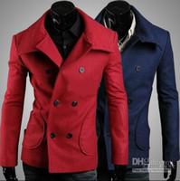 Men Waist_Length Cotton Fashion Men coats Candy color Two-sided Loose coat Slim Double-breasted Overcoat trench coats