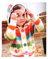 Wholesale baby girl s knit Jacket autumn coats girl s coat s Colorful stripe Hooded cardigan sweater children