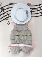 Wholesale Girl s baby Suits Lovely Harness Layer upon layer cake Suspenders romper with knot with hat romper