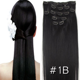 Wholesale 15 quot quot long set clip on human hair extensions Straight g g FREE SHIPPI