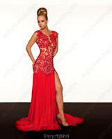 Wholesale 2013 New Enjoyweddinglife Sexy V Neck Lace Top Beaded Chiffon Split Evening Dress r