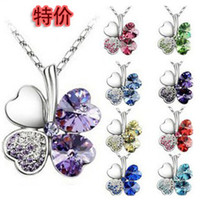 Bohemian crystal heart - 8Colors Option Silver Chain Crystal Heart Rhinestone Petal Flower Necklaces Fashion Clover Necklace