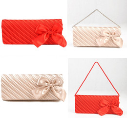 Wholesale 2012 Arrival In Stock Lady Satin Fold Bows Clutch Hand Bags Wedding Evening Party Hand Bags PH007