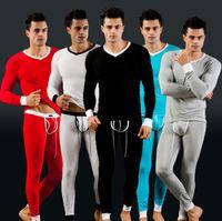 Men sweat suit - Fashion colors Mens Modal Long Johns Thermal Set Thermo Top Long Sleeve Shirt Sweat Pants sizeM L