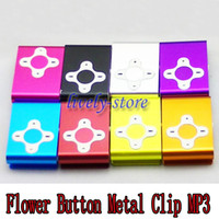 Promotion 100pcs Flower Button Metal Clip mini clip mp3 play...